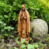Our Lady of Fatima Statue, Faux Wood, Staked, Large
