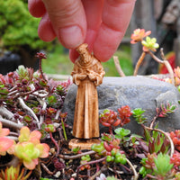 St. Francis of Assisi Statue, Faux Wood, Staked
