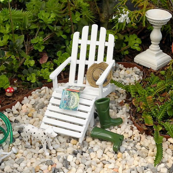 Adirondack Garden Chair with Footrest, White