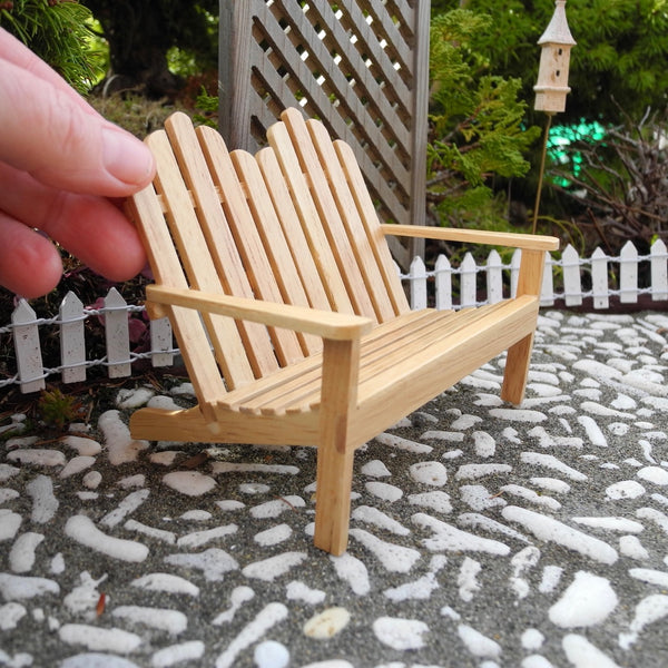 Adirondack Garden Bench, Oak Finish