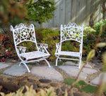 White Wicker Metal Chair Set of 2