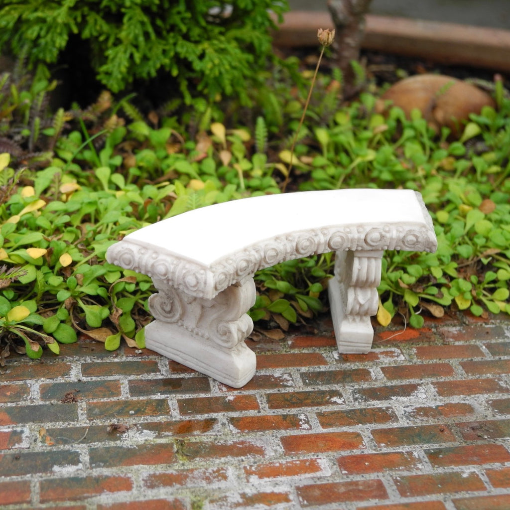 Classic Curved Garden Bench, Staked, Gray