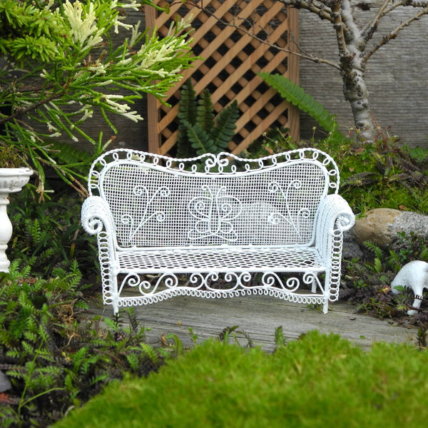 White Garden Sofa Bench, Metal