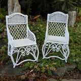 Metal Wicker Patio Chairs, Set of Two