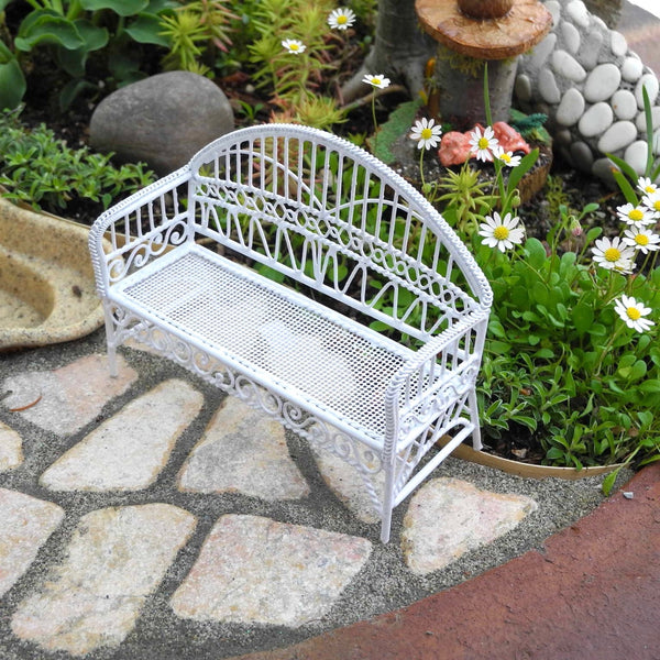White Garden Bench, Metal