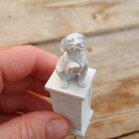 Miniature Dog on a Pedestal, Faux Marble