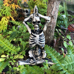 Miniature Halloween Yoga Skeleton, Sacred Mountain Pose, Staked