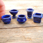 Blue Ceramic Pots, Set of 5