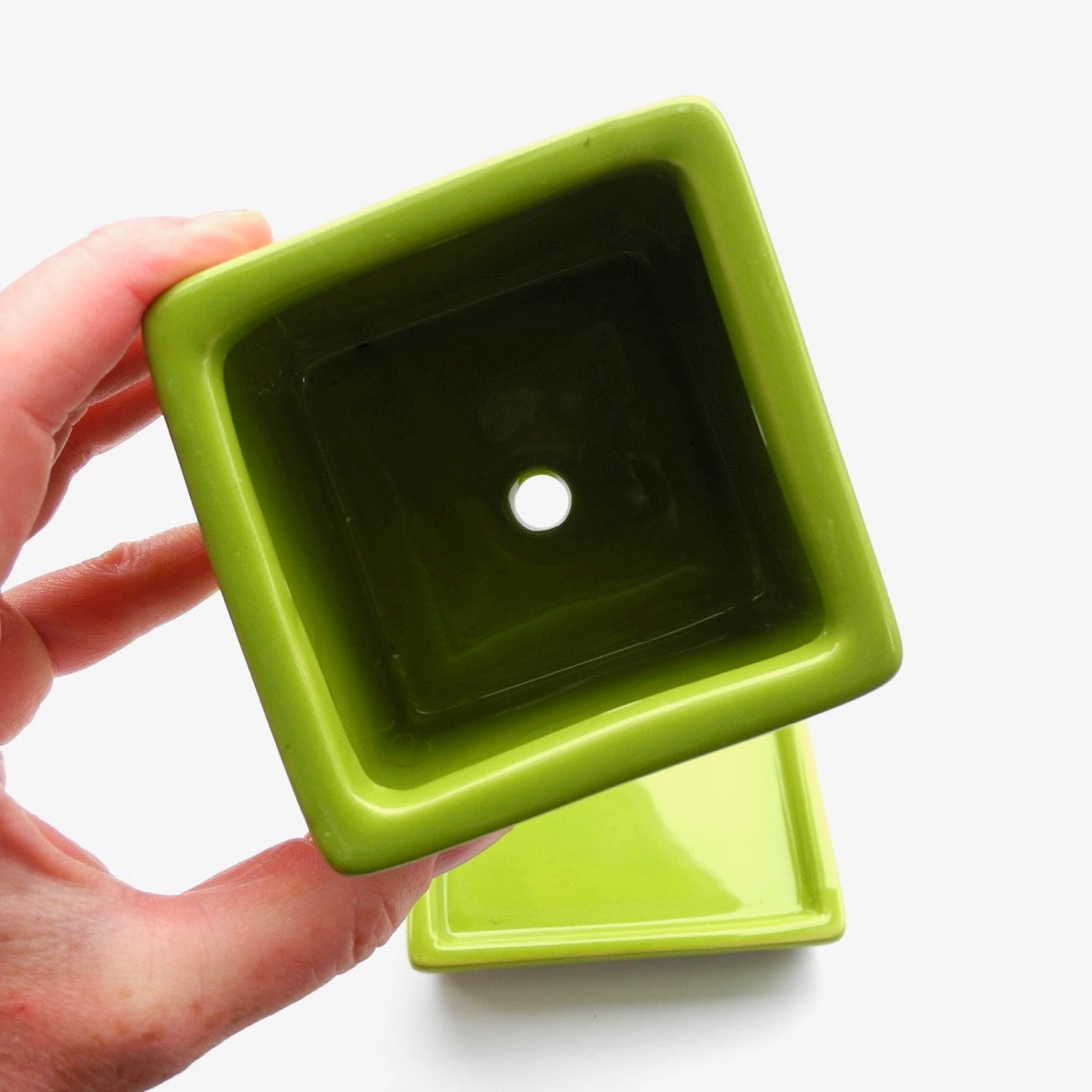 Mini Square Pot & Saucer, Lime Green