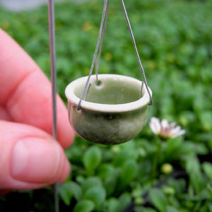 Green Ceramic Hanging Pot with Hook