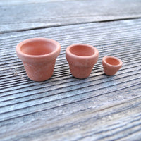 Terra Cotta Pots, Set of 3, Tiny