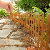 Metal Rustic Picket Fence with Stakes, Large