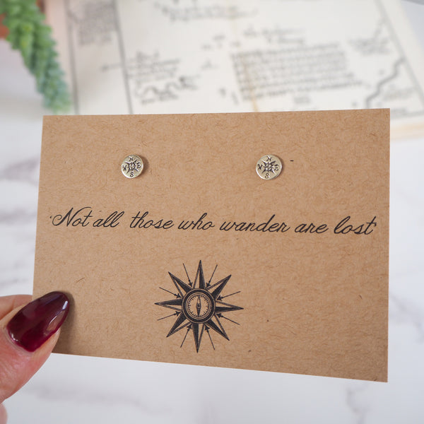 'Not All Who Wander…' Compass Earrings