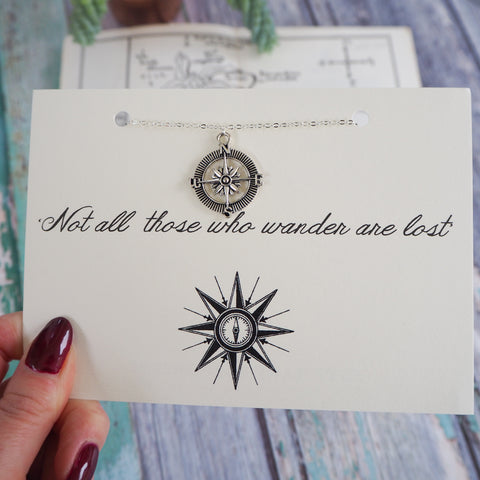 'Not All Who Wander…' Compass Necklace