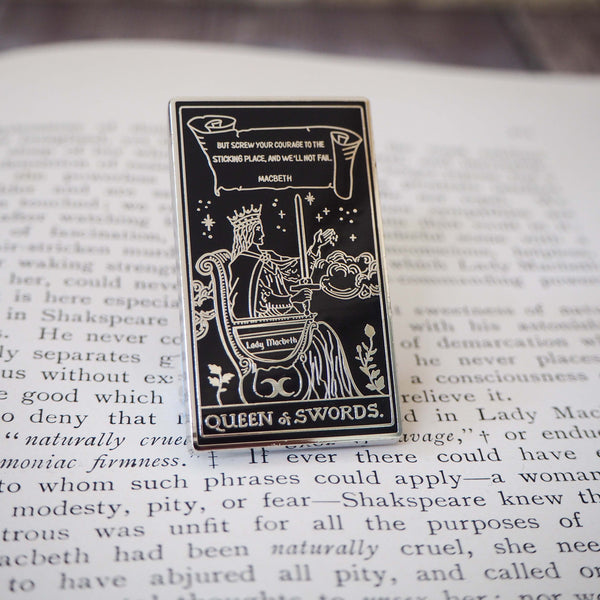 Lady Macbeth Tarot Enamel Pin - Queen of Swords - Shakespeare Tarot Collection