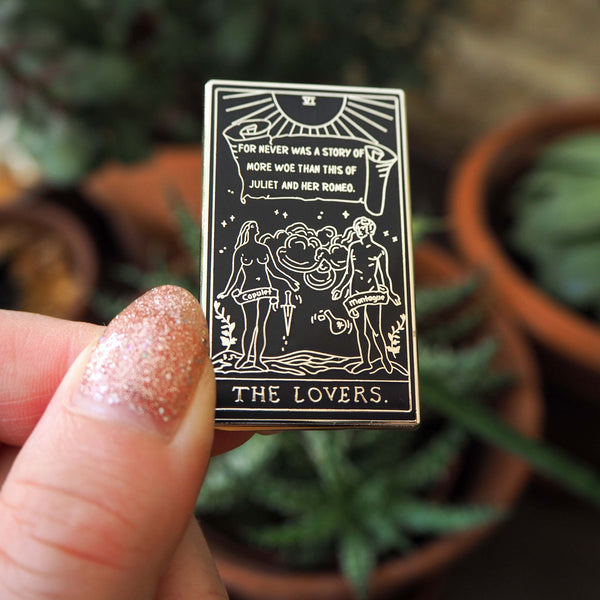 Romeo & Juliet Tarot Enamel Pin - The Lovers - Shakespeare Tarot Collection