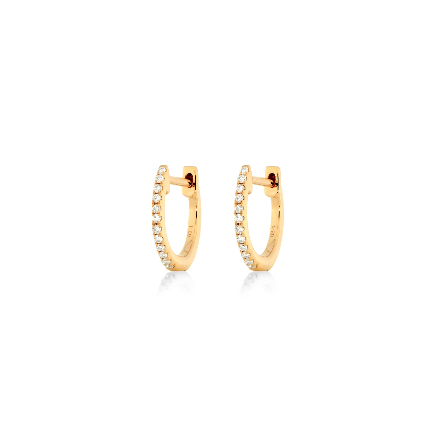Diamond Hoops in 18k Rose Gold