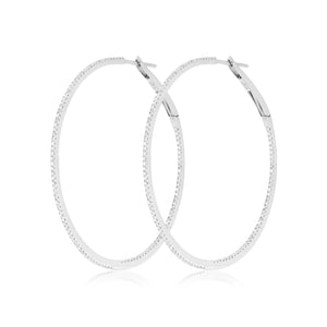 Diamond Hoops in 18k White Gold