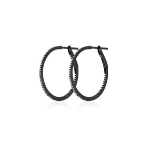Diamond Hoops in Black Rhodium/18k White Gold