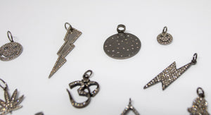 Oxidized Sterling Silver & Diamond Charms