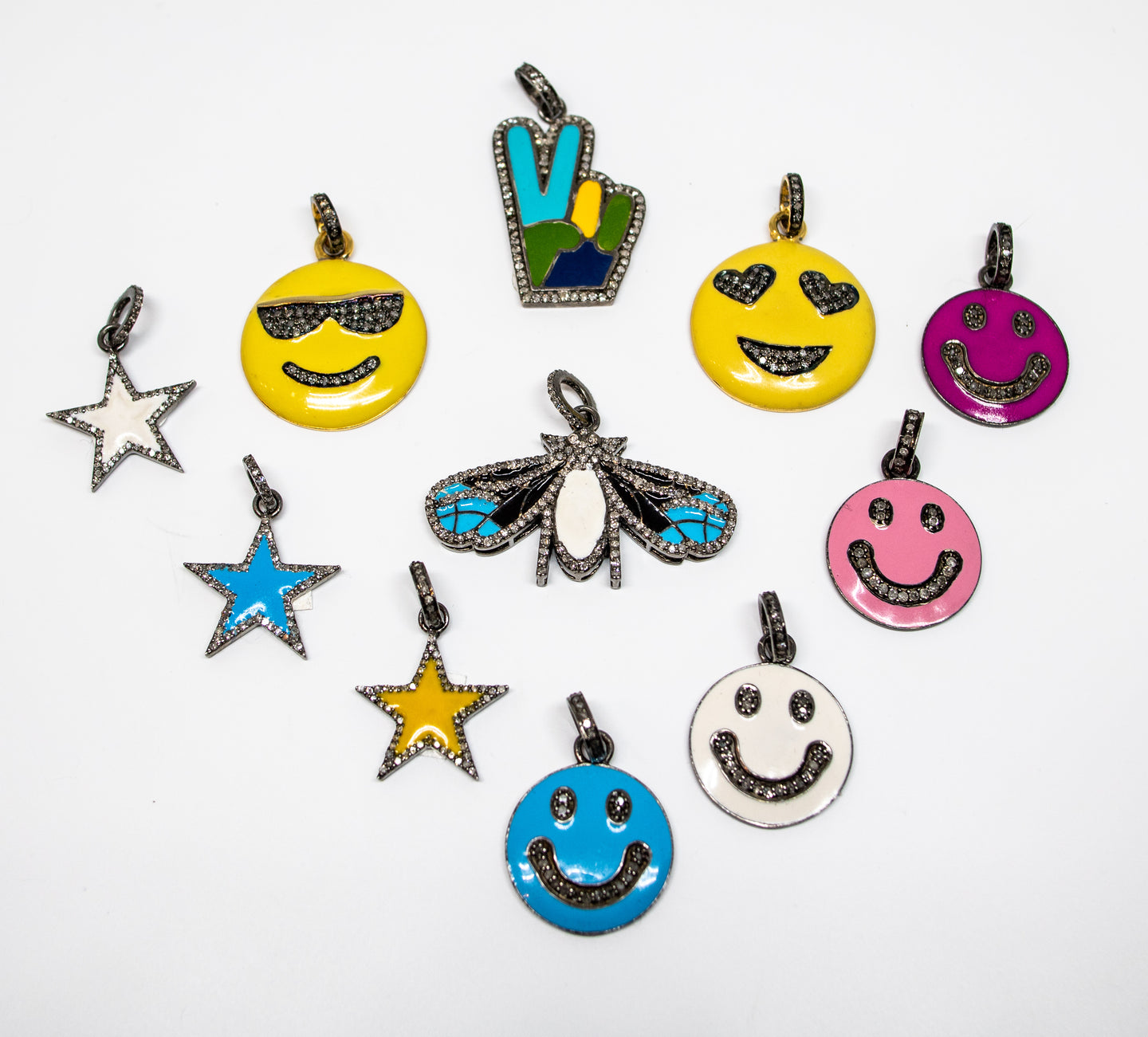 Silver & Enamel Colorful Charms with Diamonds