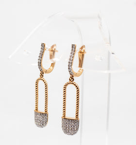 Pave Paperclip drop earrings