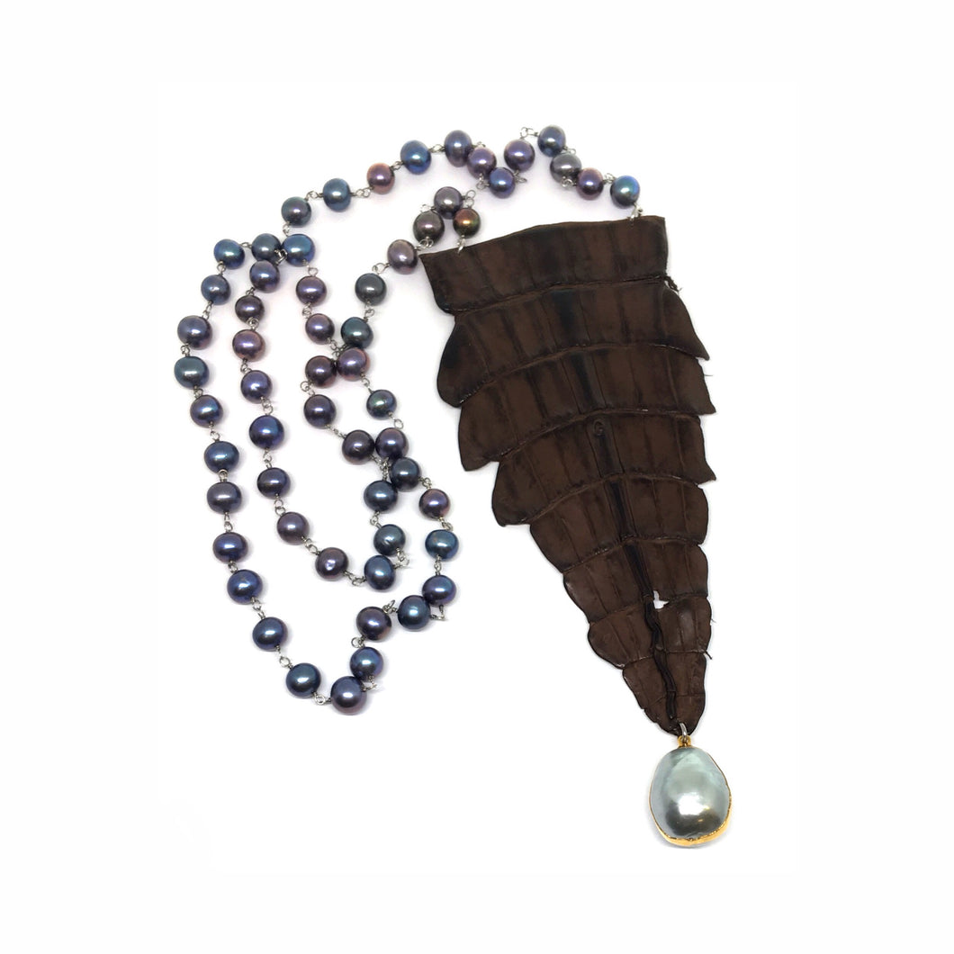 Croc Tail with Pearls Necklace