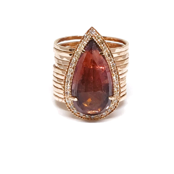 large Pear shaped Pink Tourmaline & Diamond Ring