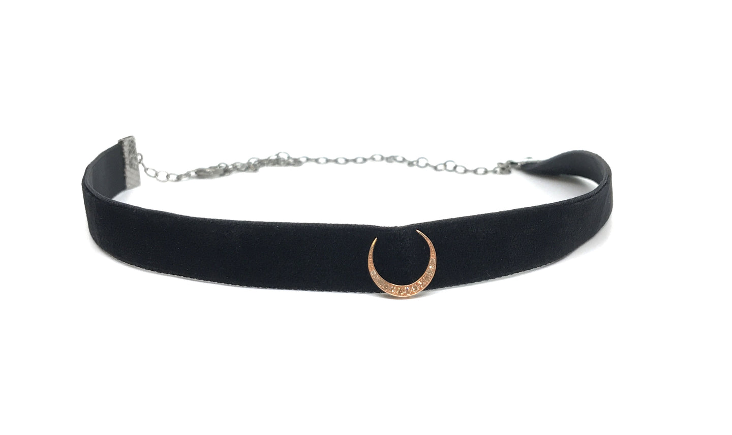 Velvet Choker with Crescent