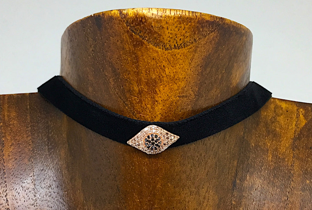 Velvet Choker with Evil Eye
