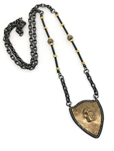 Bronze Skull and Diamond Shield Necklace