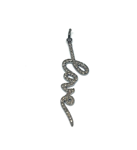 Oxidized sterling silver and pave diamond LOVE charm