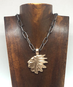 Bronze Indian Head Necklace