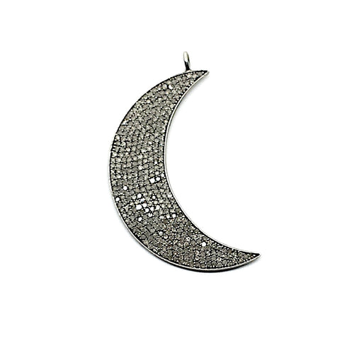 Oxidized sterling silver and Champagne diamond Moon pendant