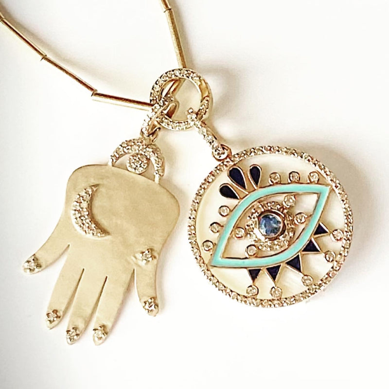 White Mother of Evil Eye pendant
