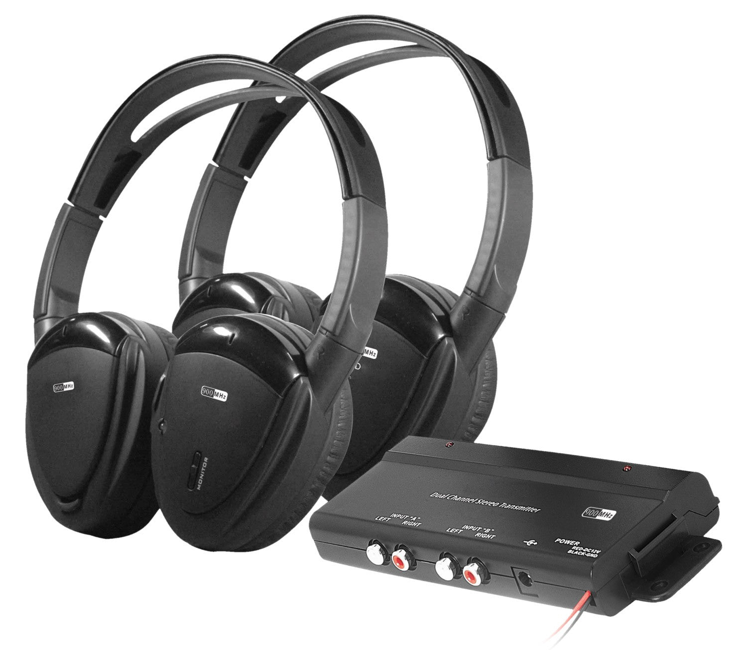 Farenheit RF Headphone System - HP-902RFT 900 Mz Folding Wireless Dual Channel RF Headphone Package featuring Two Headphones and a Transmitter