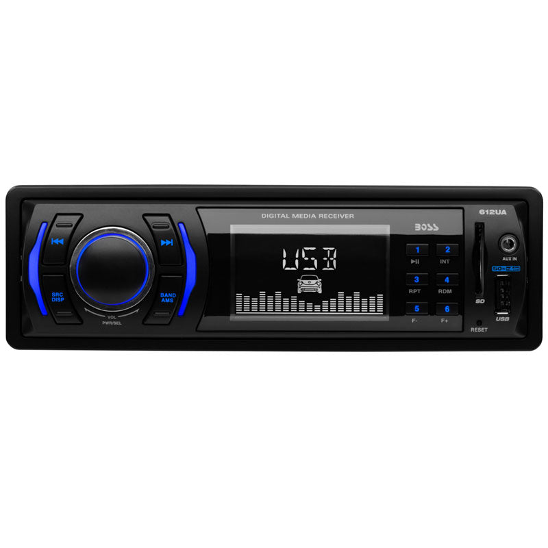 Boss 612UA Single-DIN Digital Media Car Stereo with Front Panel SD, USB and AUX Input