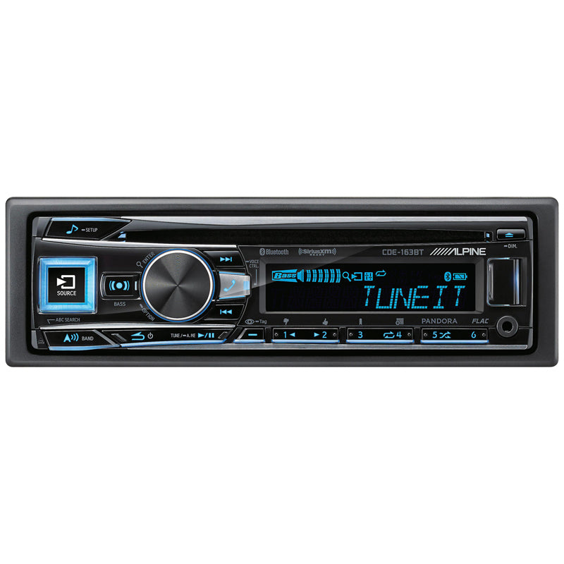 Alpine CDE-163BT Single DIN CD Car Stereo with FLAC Playback and SiriusXM Ready