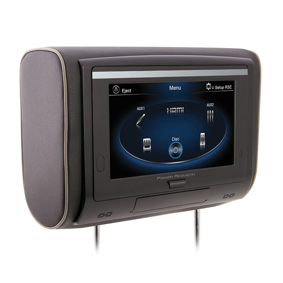 Power Acoustik HDVD-94T Single 9 Inch Touchscreen LCD Headrest Monitor with Built-In DVD Player, IR Wireless Headphone Connection