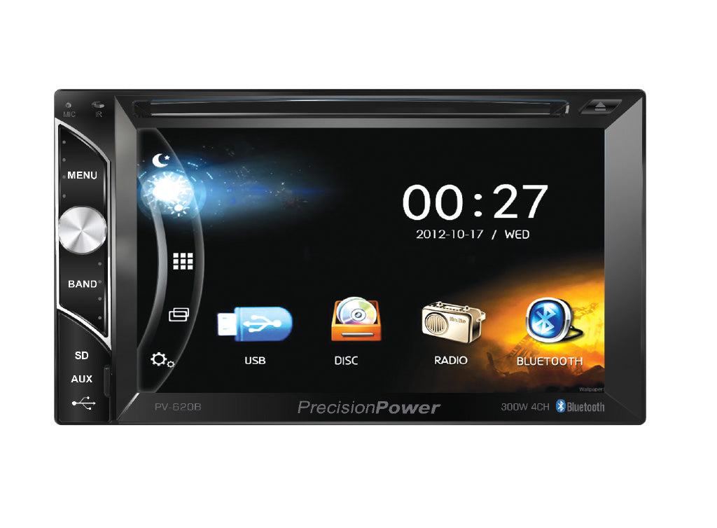 Precision Power PV-620B Double DIN Bluetooth In-Dash DVD/CD/AM/FM Car Stereo Receiver