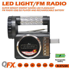 Qfx R-57Usr Fm Radio Rechargeable Battery And Usb/Sd-2Pack