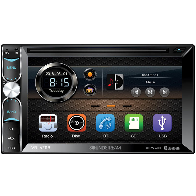 Soundstream 2 Din VR-620B DVD/CD Player Front Rear Camera Input Bluetooth USB SD