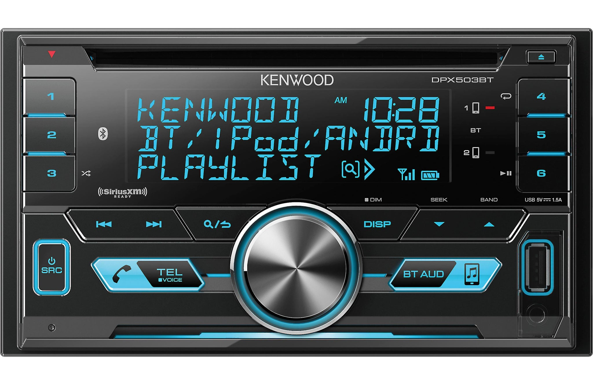 Kenwood DPX503BT Double DIN SiriusXM Ready Bluetooth In-Dash CD/AM/FM Car Stereo Receiver