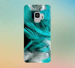 White x Turquoise Feathers Phone Case