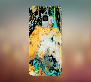 Yellow x Turquoise Canvas Texture Phone Case