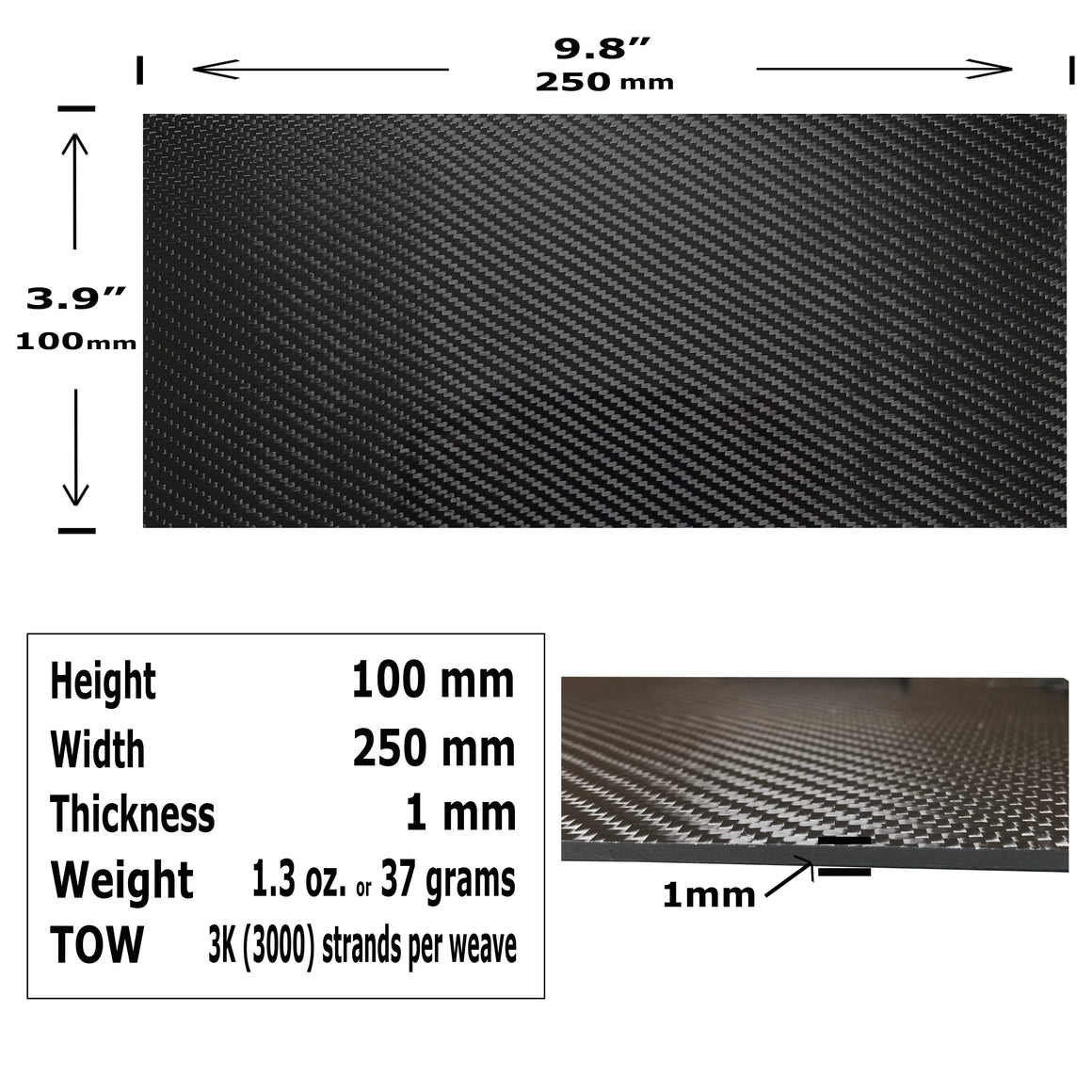 Carbon Fiber Plating  - 100mm x 250mm x 1mm - 3K Carbon Fiber Plate High Gloss Finish