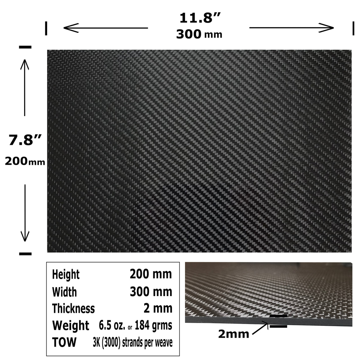Carbon Fiber Plating  - 200mm x 300mm x 2mm - 3K Carbon Fiber Plate High Gloss Finish