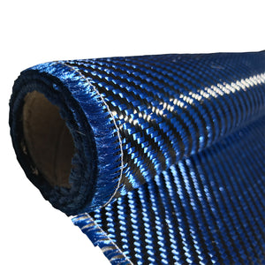 KEVLAR ARAMID  Fabric - 12 in x 25 ft - Twill  - 240g/m2 - 3K TOW (Blue)
