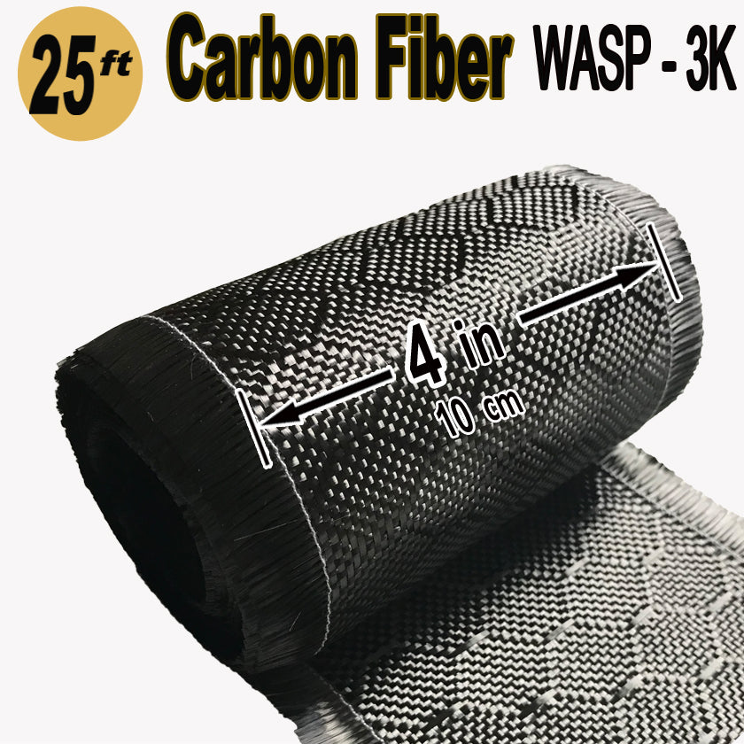 WASP Weave - CARBON FIBER Fabric - 4 in x 25 ft - 220g/m2 - 3K TOW