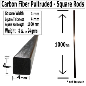 Pultruded Carbon Fiber Square Rods - 4mm x 4mm x 1000mm - High Strength Solid Rods